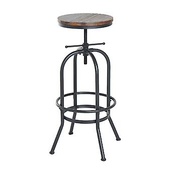 HOMCOM Vintage Industrial Bar Stool Height Adjustable Swivel Chair w/ Metal Foot and Wood Surface (TypeA)