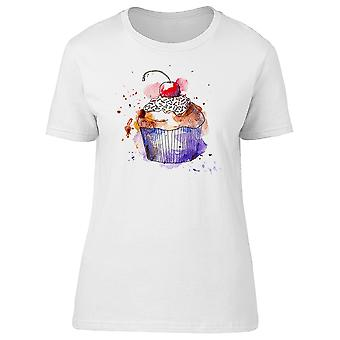 Splash Art Cupcake Cherry Tee Women's -Image by Shutterstock