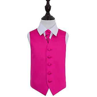 Hot Pink oformaterad Satin Bröllop väst & Cravat Set för pojkar