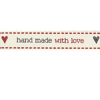 SALE - 15mm  'Hand Made With Love' Decorative Ribbon for Crafts - 4m