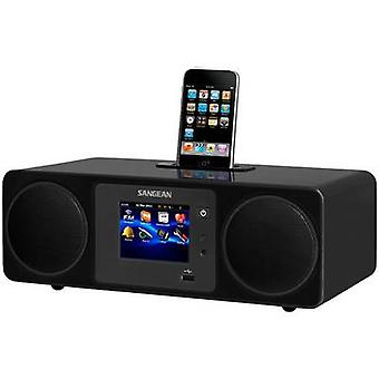 Sangean WFR-2D Internet Table top radio Apple Universal Dock, AUX, DAB +, radio por Internet, pantalla táctil USB, DLNA-compatible negro