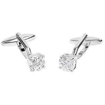David Van Hagen Shiny Crystal Clasp Cufflinks - Silver/Clear