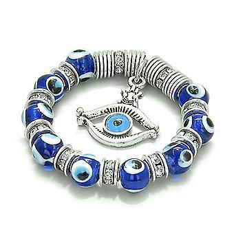 Amulet onde øyet ProtectiHamsa øye lykkebringer blå Swarovski Elements glassperler