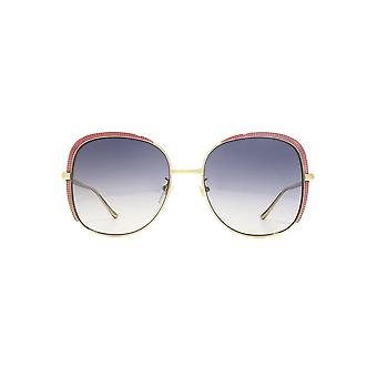 Gucci Guilloche Embellished Square Sunglasses In Gold
