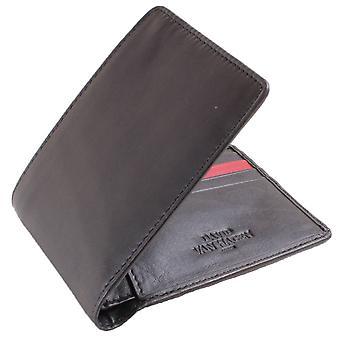 David Van Hagen 8 Card-Stripe portemonnee - zwart/rood
