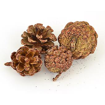 Brown Glittered Pine Cones for Christmas Crafts - 90g Bag