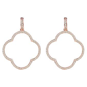 Large Open Clover Drop Earrings Rose Gold Pink CZ Statement Big Party 925 Silver
