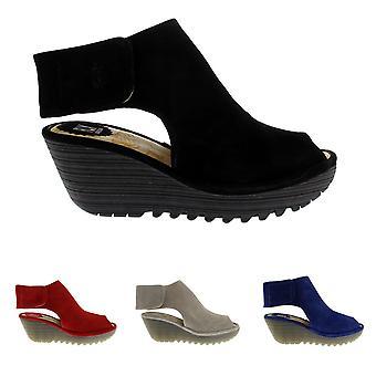 Mujeres volar Londres Yone Suede Peep Toe cuña talón vacaciones verano zapatos