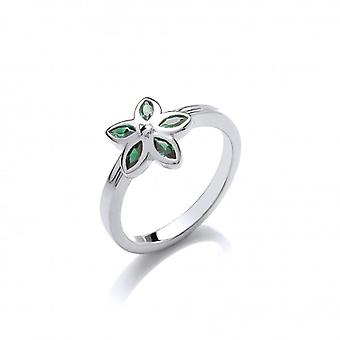 Cavendish French Silver and Moss Green CZ Flower Ring