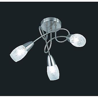 Trio Beleuchtung Colmar moderne Nickel Matt Metall Deckenleuchte