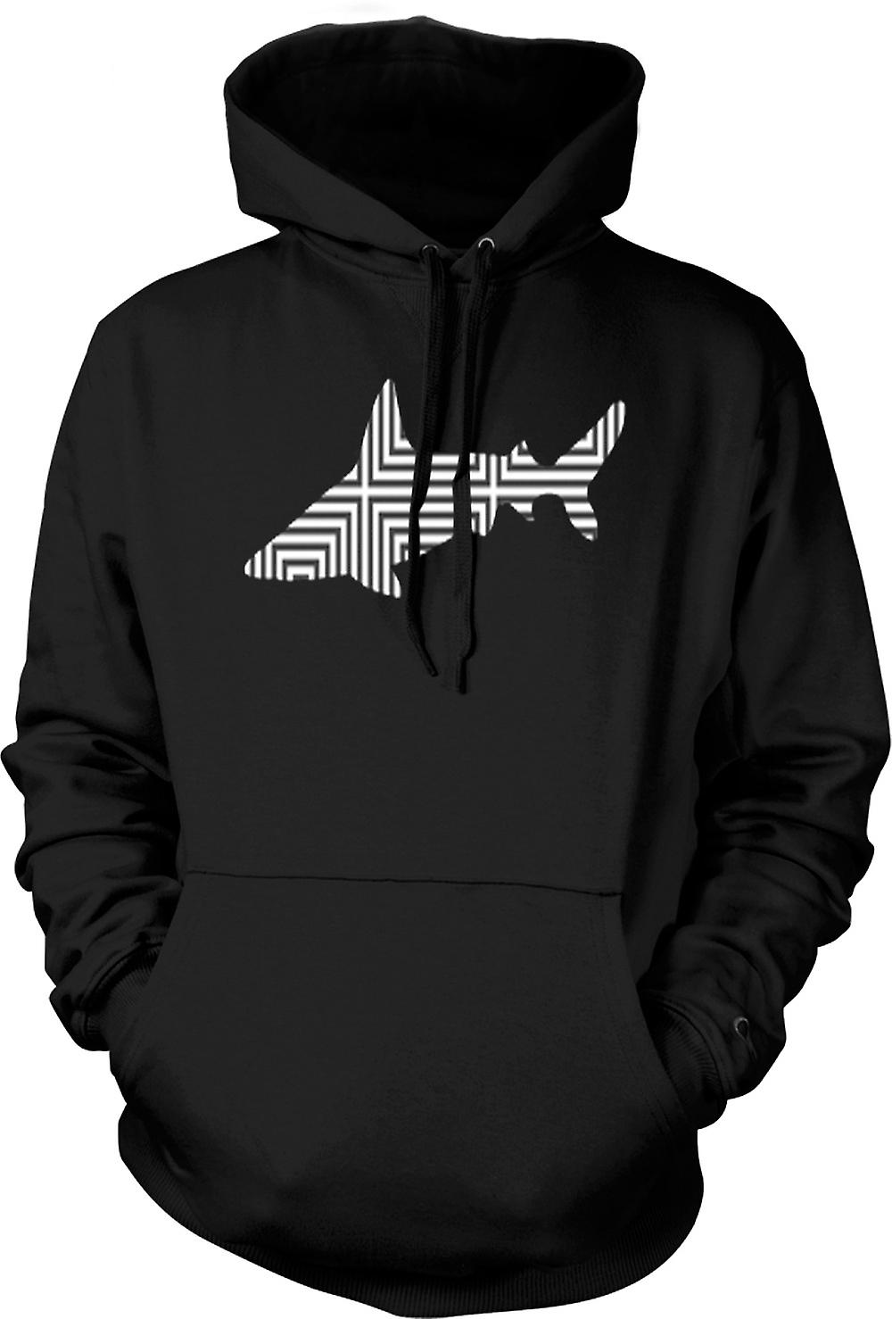 Mens Hoodie - Shark With Pattern Design