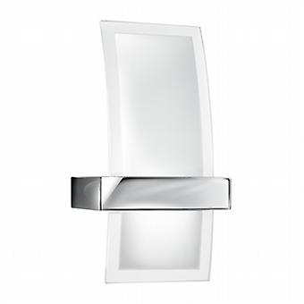 5115 Contemporary Halogen Glass and Chrome Wall Light