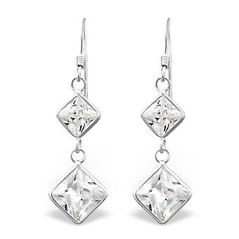 Hanging Squares - 925 Sterling Silver Cubic Zirconia Earrings - W440X
