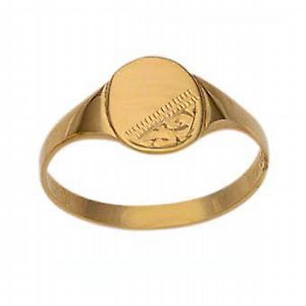 9ct Gold 8x6mm childs engraved oval Signet Ring Size G