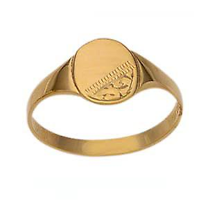 9ct Gold 8x6mm childs engraved oval Signet Ring Size N