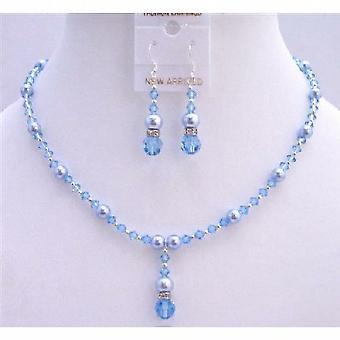Swarovski Blue Pearls Aquamarine Crystals Bridal Jewelry Set Jewelry