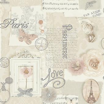 Arthouse Felicity motif Floral Paris musique note Motif papier peint crème