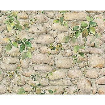 Feuille Brick Floral effet papier peint Pierre ardoise texture gaufrée Beige blanc