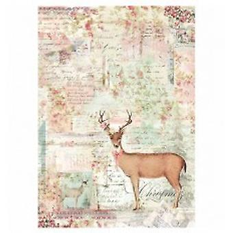 Stamperia Rice Paper A4 Pink Christmas Reindeer (DFSA4319)
