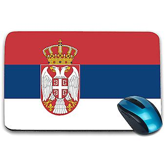 i-Tronixs - Serbia Flag Printed Design Non-Slip Rectangular Mouse Mat for Office / Home / Gaming - 0154