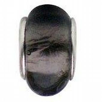 TOC BEADZ Grey Foil 9mm Glass Slide-On & Slide-Off Bead