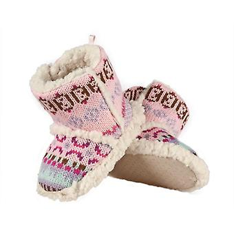 Infant Girls Sherpa Fleece Fair Isle Slipper Booties: Pink