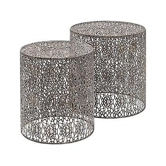 Libra Furniture Antique Grey Iron Nesting Side Tables