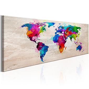 Canvas print-WereldKaart: finesse van kleuren