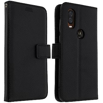 Flip wallet case, slim cover Motorola One Vision, silicone shell - Black