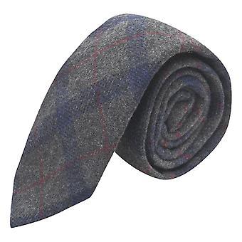 Grey & Blue Check Tie, Tweed, Tartan, Plaid