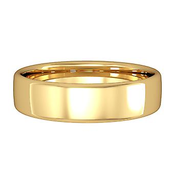 Jewelco London 18ct Yellow Gold - 5mm Essential Bombe Court-Shaped Band Commitment / Wedding Ring