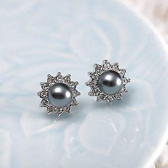 14K White Gold Plated Grey Simulated Pearl Studs, 1.2cm