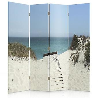 Room Divider, 4 Panels, Double-Sided, Rotatable 360, Canvas, Passage Of The Beach 1