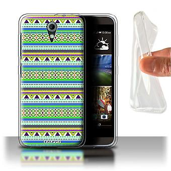 STUFF4 Gel/TPU Case/Cover voor HTC Desire 820 Mini/groen/paars/Azteekse Tribal patroon