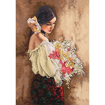 Gold Collection Woman With Bouquet Counted Cross Stitch Kit 11
