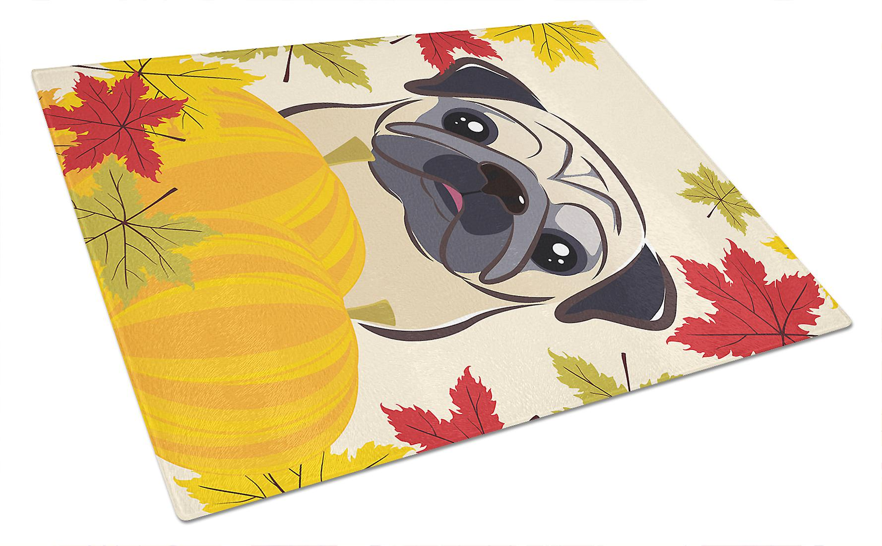 Fawn Pug Thanksgiving Glass Cutting Board Large BB2068LCB