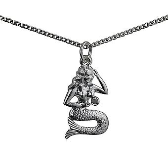 Silver 21x14mm Mermaid Pendant with a curb Chain 24 inches