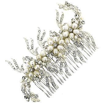 Handgemachte Swarovski Kristall & Süßwasser Perle Floral Haar Kamm
