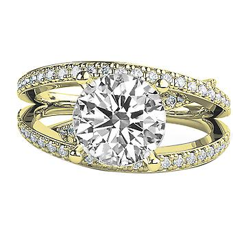 Moissanite Ring Forever One 2.40 CTW 8.00MM with Diamonds 14K Yellow Gold Multi Band 3 bands