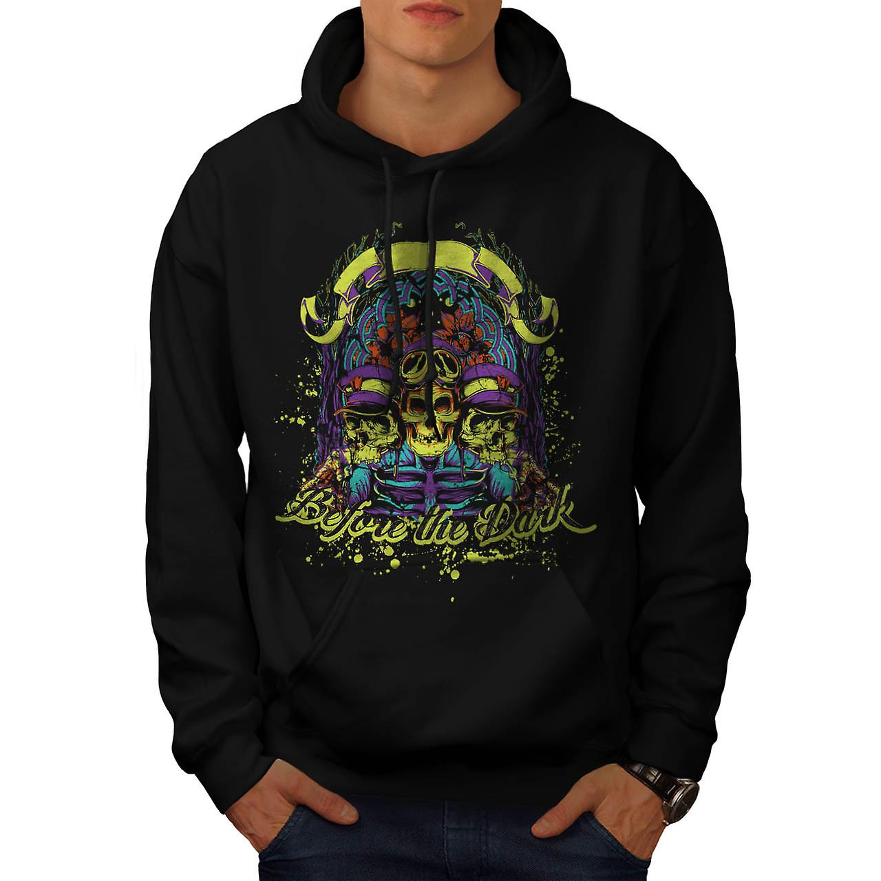 Before Dark Zombie Skull Ride Men Black Hoodie | Wellcoda