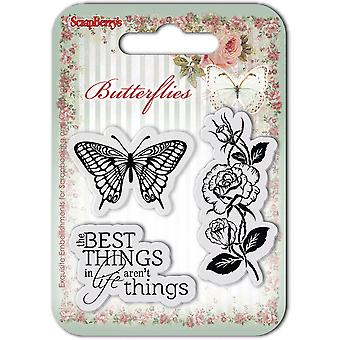ScrapBerry Schmetterlinge Clear Stamps 2,7