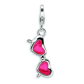Sterling Silver Enameled Created Coral Heart Sunglasses With Lobster Clasp Charm - Measures 29x7mm