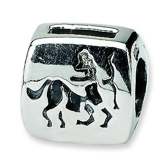 Polished Sterling Reflections Sagittarius Zodiac Antiqued Bead Charm