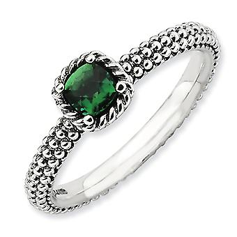 2.25mm Sterling Silver Prong set Antique finish Stackable Expressions Polished Created Emerald Ring - Ring Size: 5 to 10