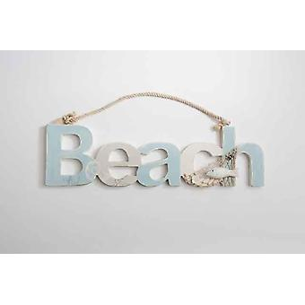 Chic Wooden Beach Sign Wall Hanging Decoration With Net Rope Shell Fish