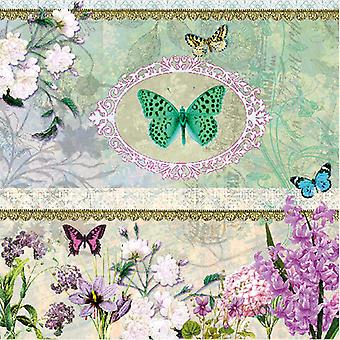 Ambiente 3 lags papirservietter, sommerfugl medaljon