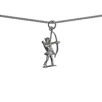 Silver 14x26mm Robin Hood med båge och pilar hänge med en Trottoarkant kedja 18 inches
