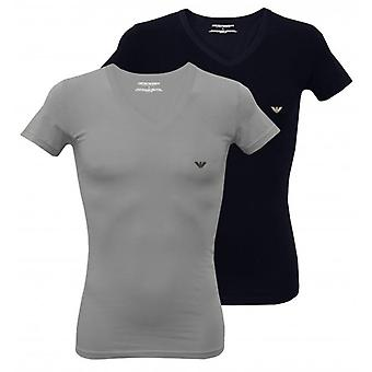 Emporio Armani 2-Pack Stretch Cotton V-Neck T-Shirts, Grey/Navy