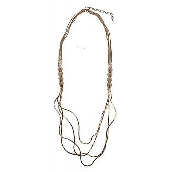 W.A.T Gold Style Layered Chain Spike Necklace