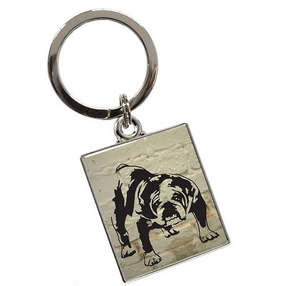 Tyler and Tyler Brick Barry Bulldog Keyring  - White